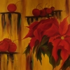 Cherries and Flowers, oil on canvas, 1.22x1.52mts
