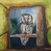 Owl, acrylic and oil, 0.91x0.60mts